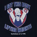 Lifting Weights 10 Ounces At A Time - Simpsons T-shirt