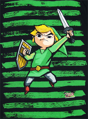 Link On Green Stripes - Legend Of Zelda - Nintendo T-shirt