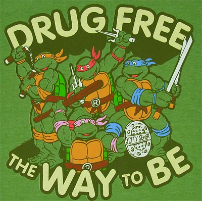 Drug Free The Way To Be - Teenage Mutant Ninja Turtles Sheer T-shirt