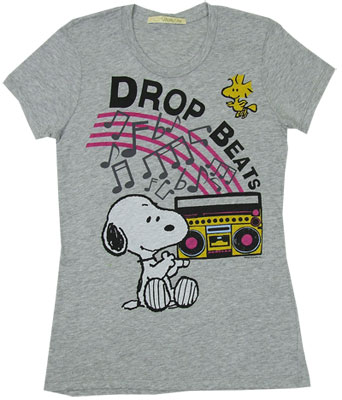 drop beats snoopy peanuts sheer women 39 s t shirt. Black Bedroom Furniture Sets. Home Design Ideas