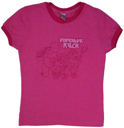 Dinosaur Rock - Barney Sheer Ringer Baby Tee