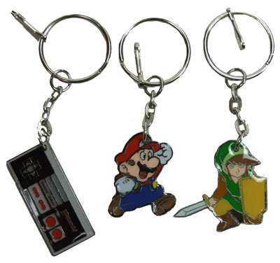 Mario, Link, And Controller - Nintendo Keychain Set