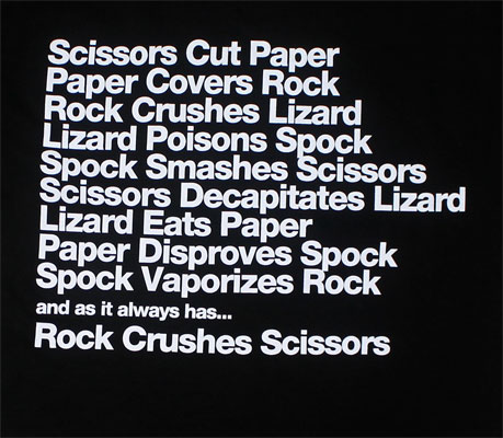 Scissors Paper Rock Lizard Spock Rules - Big Bang Theory T-shirt