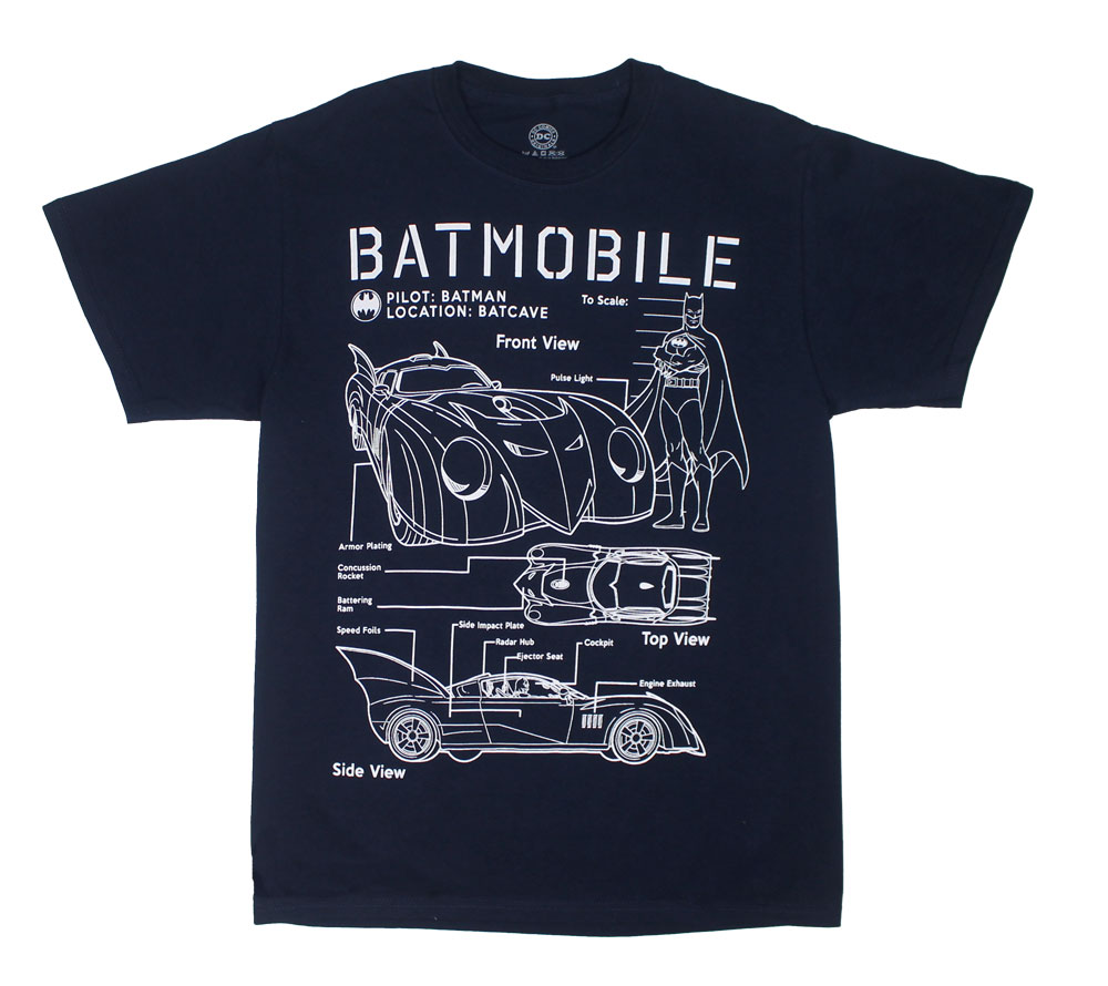 Batmobile Diagram - DC Comics T-shirt