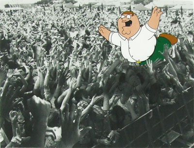 Peter Crowd Surfing - Family Guy Sheer T-shirt