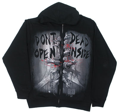 Don't Open Dead Inside - Walking Dead Zip Hooded Sweatshirt