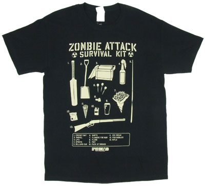 Zombie Attack Survival Kit - Shaun Of The Dead T-shirt