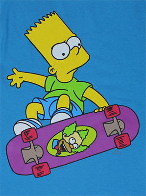Bart On Krusty Skateboard - Simpsons Sheer T-shirt