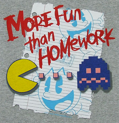 More Fun Than Homework - Pac-Man Boys T-shirt