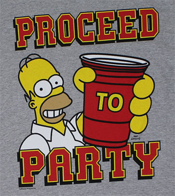 Proceed to Party - Simpsons T-shirt