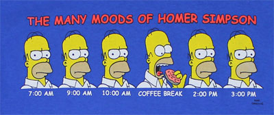 Many Moods Of Homer Simpson - Simpsons T-shirt