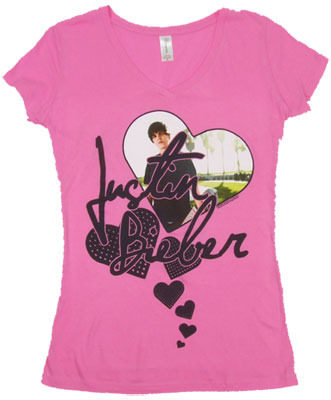 Hearts - Justin Bieber Sheer Women's V-Neck T-shirt