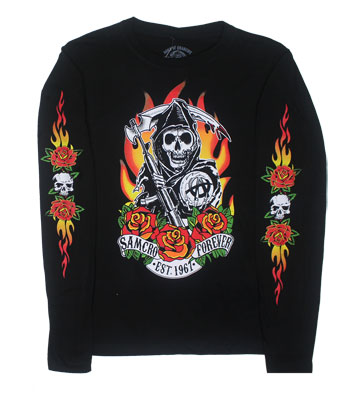 Fire Roses - Sons Of Anarchy Juniors Long Sleeve T-shirt
