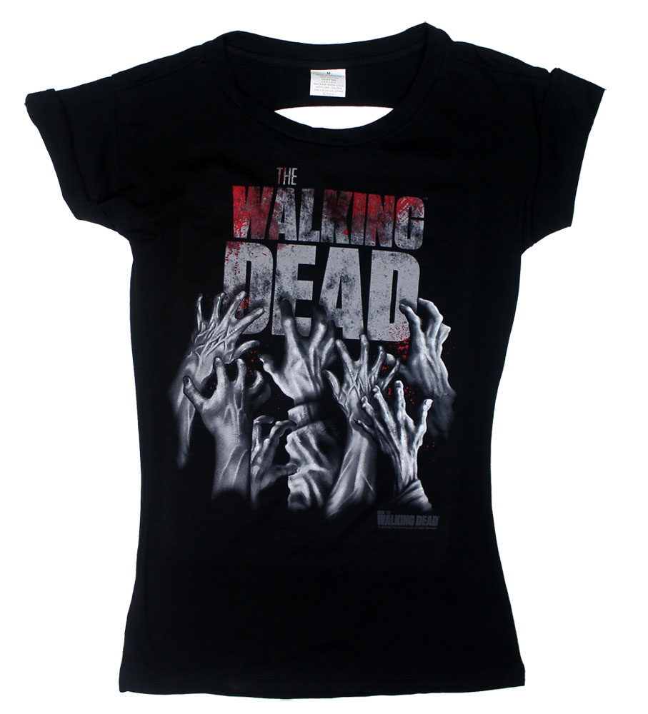 Hands Blood Splatter Logo - Walking Dead Juniors T-shirt