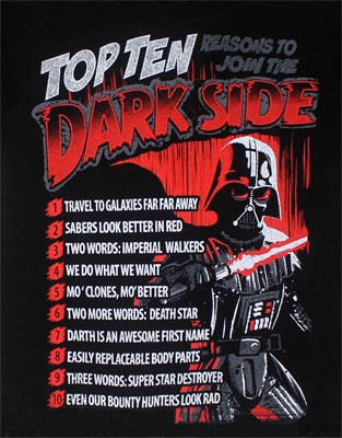 Top Ten Reasons To Join The Dark Side - Star Wars Youth T-shirt