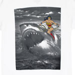 Wonder Woman Riding Shark - DC Comics T-shirt